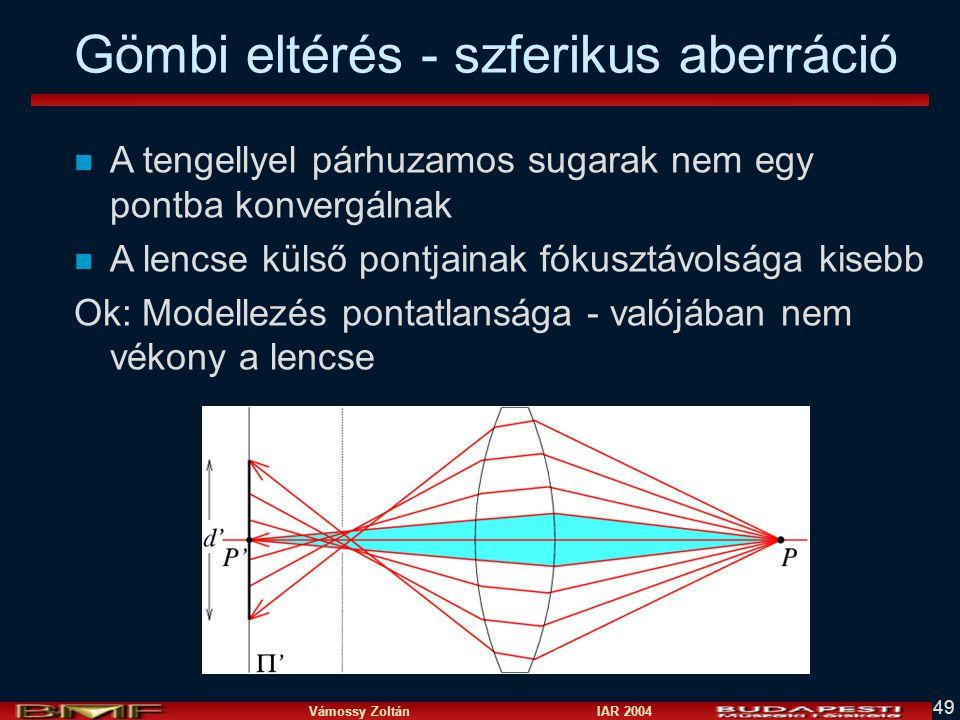 Vámossy Zoltán IAR 2004 49 n A tengellyel párhuzamos sugarak nem egy pontba konvergálnak n A lencse külső pontjainak fókusztávolsága kisebb Ok: Modellezés pontatlansága - valójában nem vékony a lencse Gömbi eltérés - szferikus aberráció