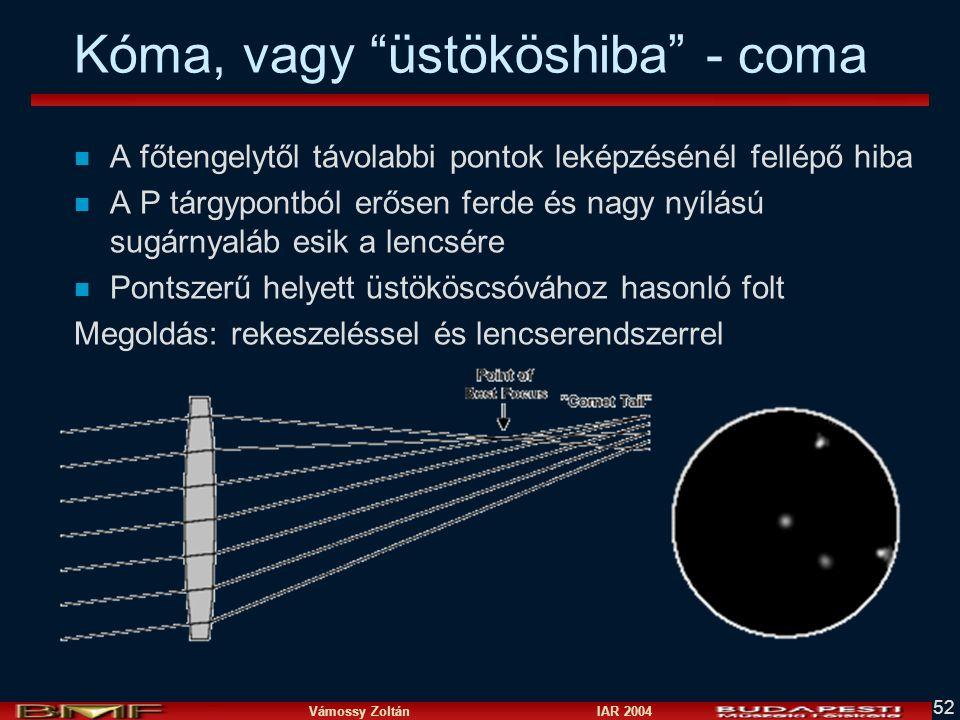 Vámossy Zoltán IAR 2004 52 Kóma, vagy üstököshiba - coma n A főtengelytől távolabbi pontok leképzésénél fellépő hiba n A P tárgypontból erősen ferde és nagy nyílású sugárnyaláb esik a lencsére n Pontszerű helyett üstököscsóvához hasonló folt Megoldás: rekeszeléssel és lencserendszerrel