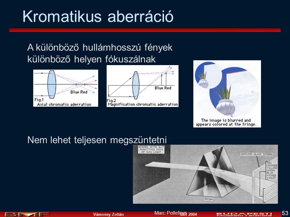 Vámossy Zoltán IAR 2004 53 A különböző hullámhosszú fények különböző helyen fókuszálnak Nem lehet teljesen megszüntetni Marc Pollefeys Kromatikus aberráció
