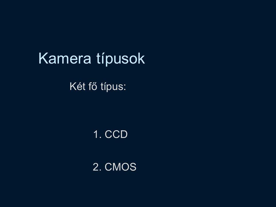 Kamera típusok Két fő típus: 1. CCD 2. CMOS