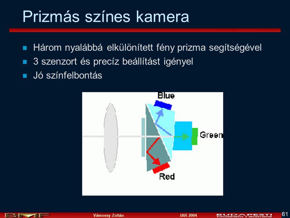 Vámossy Zoltán IAR 2004 61 Prizmás színes kamera n Három nyalábbá elkülönített fény prizma segítségével n 3 szenzort és precíz beállítást igényel n Jó színfelbontás