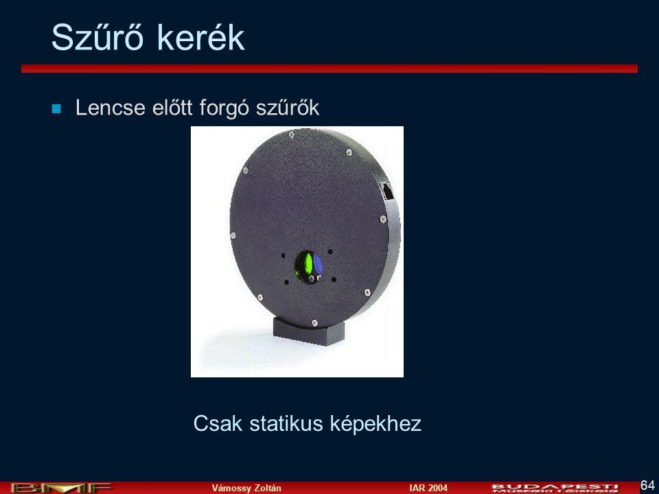 Vámossy Zoltán IAR 2004 64 Szűrő kerék n Lencse előtt forgó szűrők Csak statikus képekhez