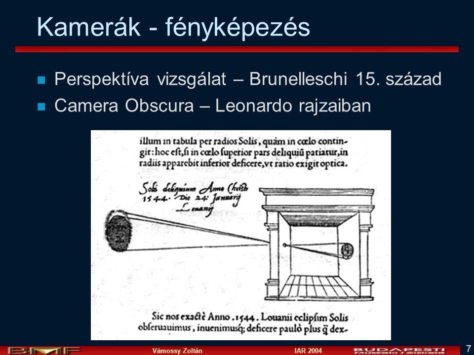 Vámossy Zoltán IAR 2004 7 Kamerák - fényképezés n Perspektíva vizsgálat – Brunelleschi 15.