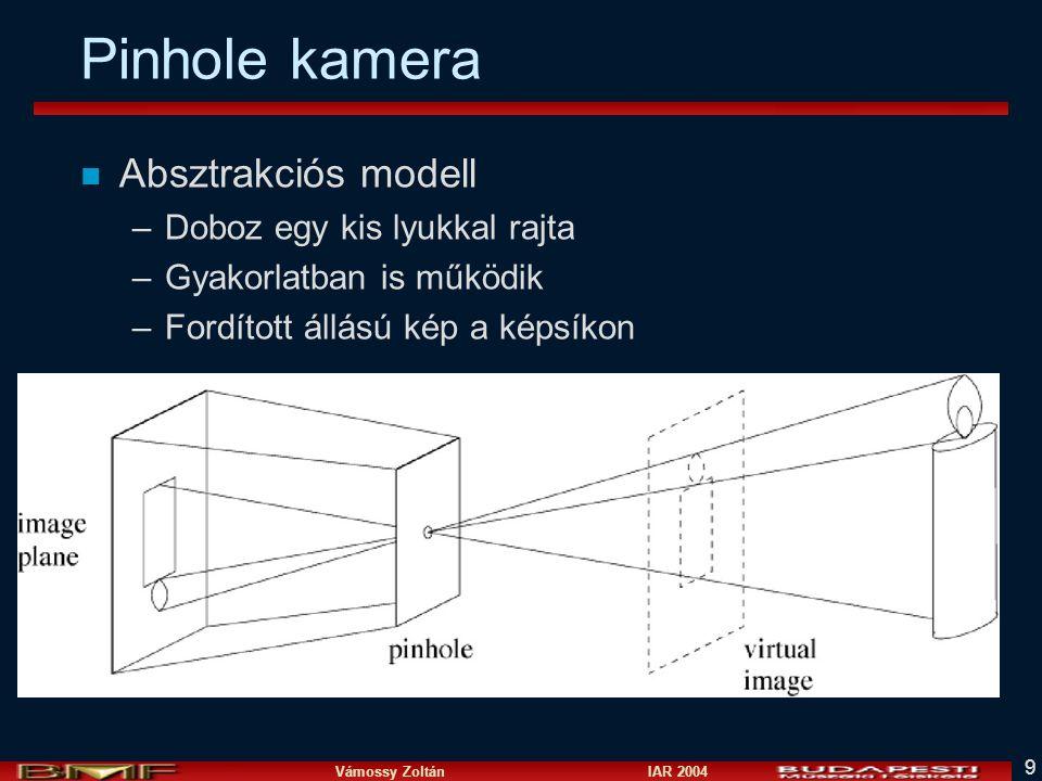Vámossy Zoltán IAR 2004 9 Pinhole kamera n Absztrakciós modell –Doboz egy kis lyukkal rajta –Gyakorlatban is működik –Fordított állású kép a képsíkon
