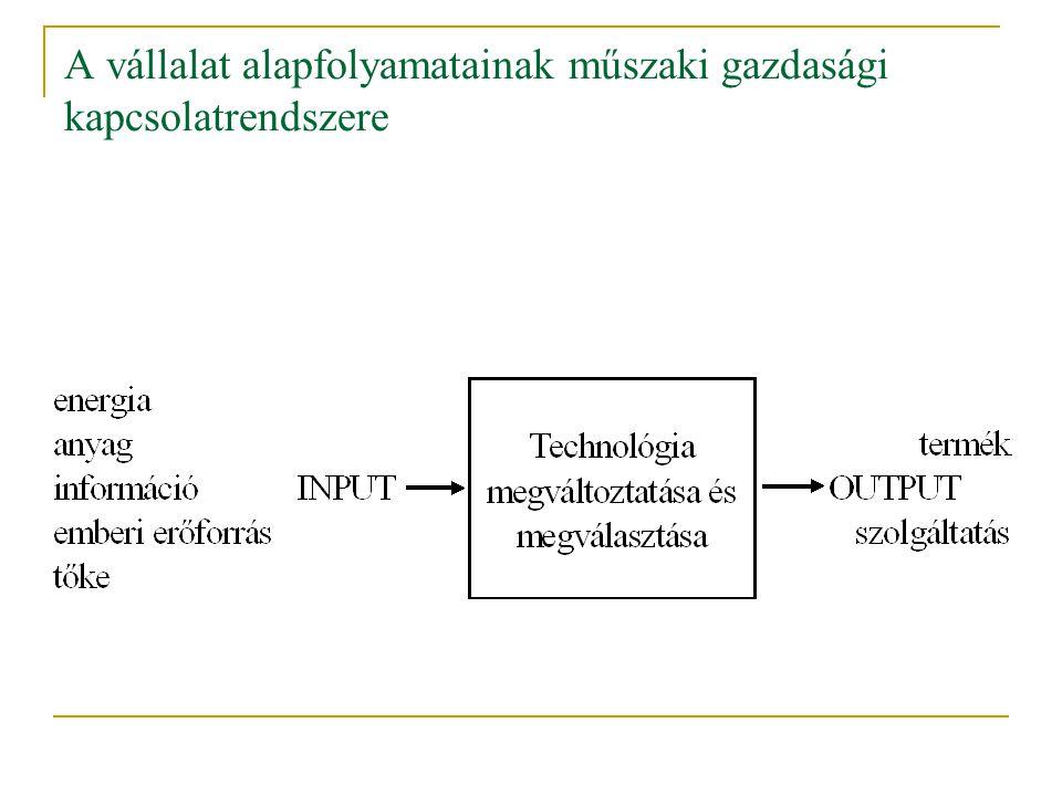A vállalat alapfolyamatainak műszaki gazdasági kapcsolatrendszere