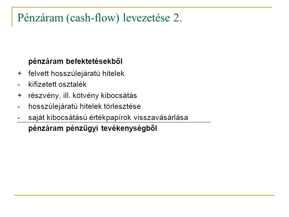 Pénzáram (cash-flow) levezetése 2. pénzáram befektetésekből +felvett hosszúlejáratú hitelek -kifizetett osztalék +részvény, ill. kötvény kibocsátás -h