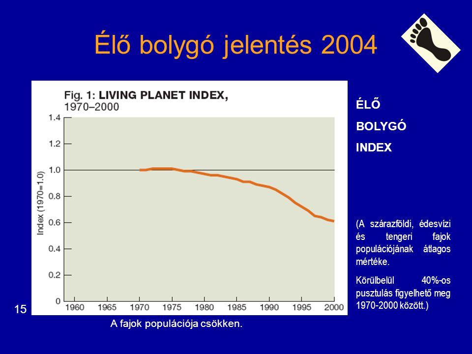 Élő bolygó jelentés 2004 ÉLŐ BOLYGÓ INDEX (A szárazföldi, édesvízi és tengeri fajok populációjának átlagos mértéke. Körülbelül 40%-os pusztulás figyel