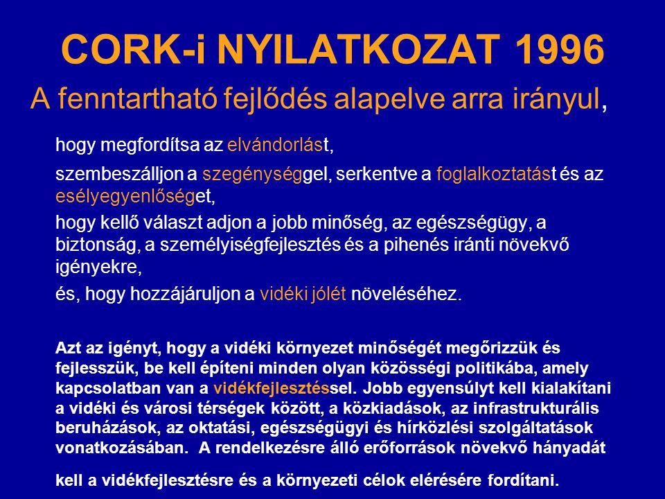 CORK-i NYILATKOZAT 1996 A fenntartható fejlődés alapelve arra irányul, hogy megfordítsa az elvándorlást, szembeszálljon a szegénységgel, serkentve a f
