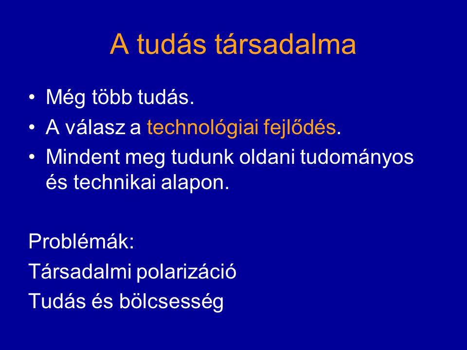 A tudás társadalma Még több tudás. A válasz a technológiai fejlődés. Mindent meg tudunk oldani tudományos és technikai alapon. Problémák: Társadalmi p