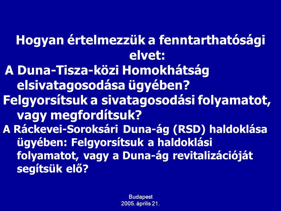 Budapest 2005. április 21. Hogyan értelmezzük a fenntarthatósági elvet: A Duna-Tisza-közi Homokhátság elsivatagosodása ügyében? Felgyorsítsuk a sivata