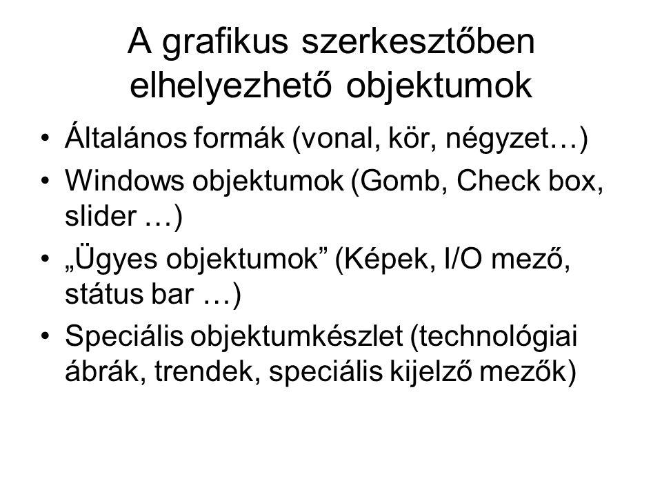 """A grafikus szerkesztőben elhelyezhető objektumok Általános formák (vonal, kör, négyzet…) Windows objektumok (Gomb, Check box, slider …) """"Ügyes objektu"""