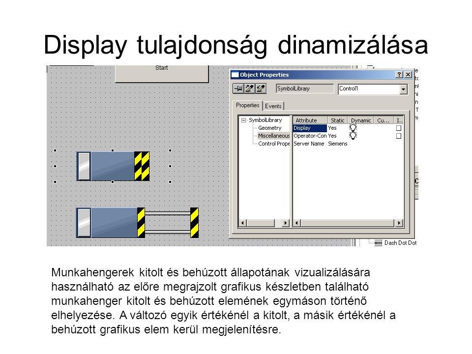 Display tulajdonság dinamizálása Munkahengerek kitolt és behúzott állapotának vizualizálására használható az előre megrajzolt grafikus készletben talá