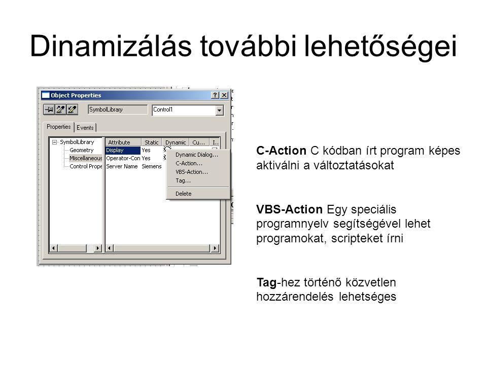 Dinamizálás további lehetőségei C-Action C kódban írt program képes aktiválni a változtatásokat VBS-Action Egy speciális programnyelv segítségével leh