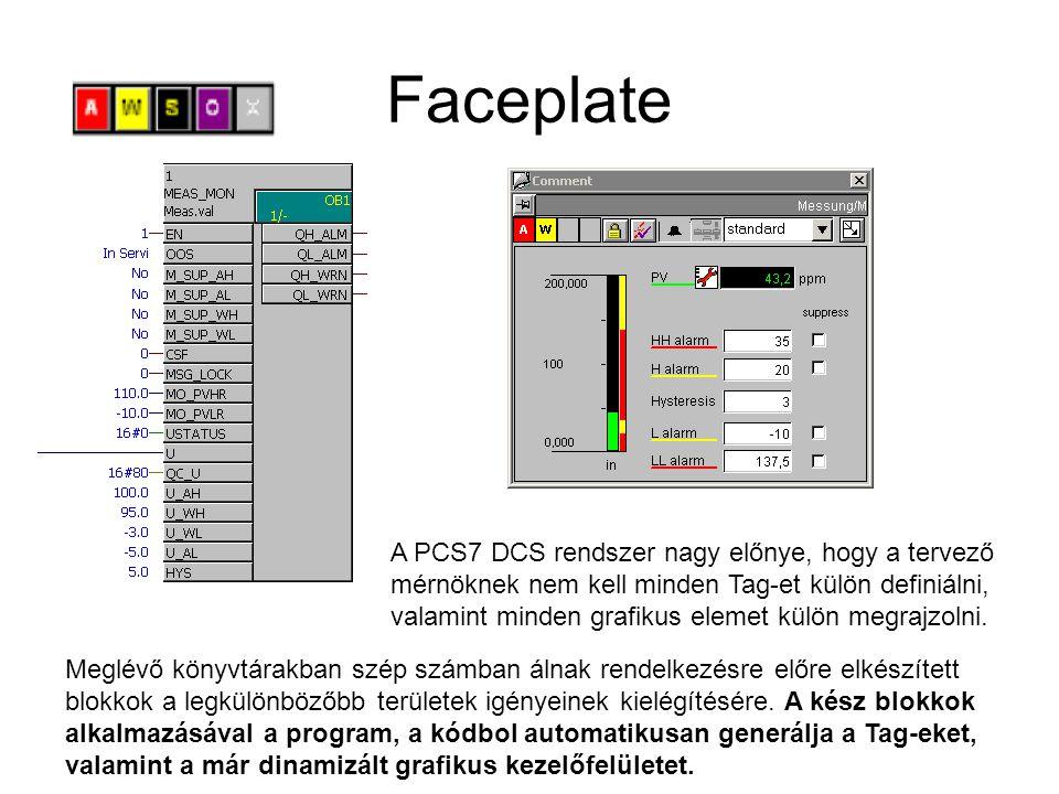 Faceplate A PCS7 DCS rendszer nagy előnye, hogy a tervező mérnöknek nem kell minden Tag-et külön definiálni, valamint minden grafikus elemet külön meg