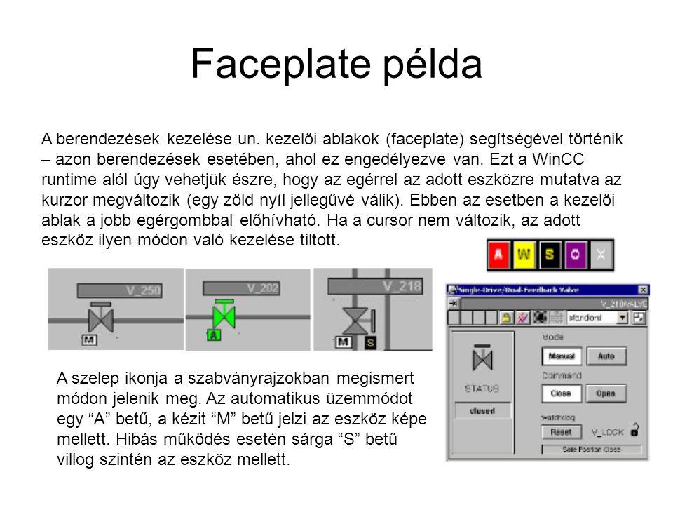 Faceplate példa A berendezések kezelése un. kezelői ablakok (faceplate) segítségével történik – azon berendezések esetében, ahol ez engedélyezve van.
