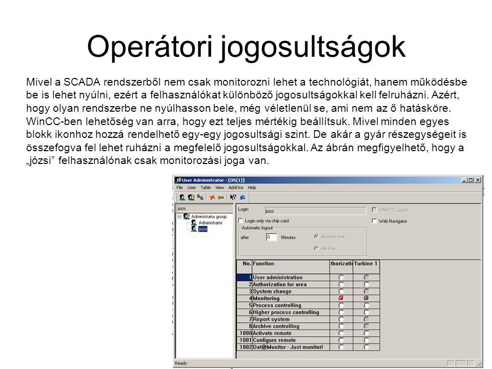 Operátori jogosultságok Mivel a SCADA rendszerből nem csak monitorozni lehet a technológiát, hanem működésbe be is lehet nyúlni, ezért a felhasználóka