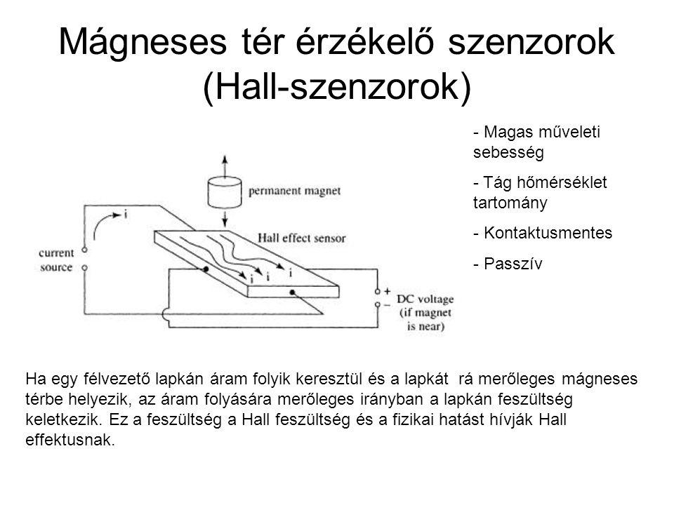 Mágneses tér érzékelő szenzorok (Hall-szenzorok) Ha egy félvezető lapkán áram folyik keresztül és a lapkát rá merőleges mágneses térbe helyezik, az ár