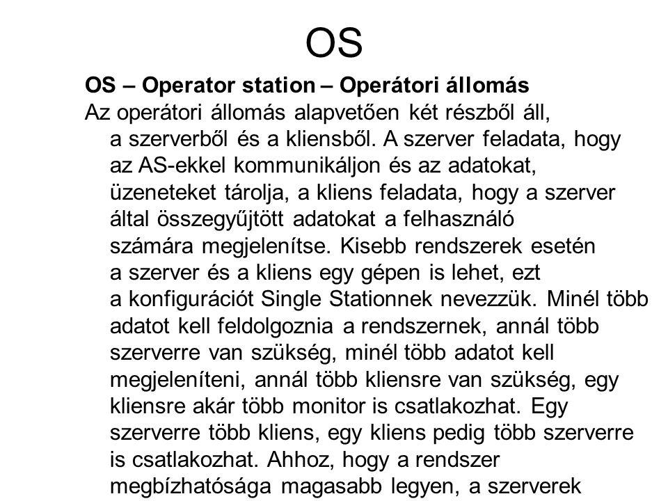 OS OS – Operator station – Operátori állomás Az operátori állomás alapvetően két részből áll, a szerverből és a kliensből. A szerver feladata, hogy az