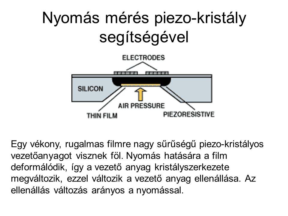 Nyomás mérés piezo-kristály segítségével Egy vékony, rugalmas filmre nagy sűrűségű piezo-kristályos vezetőanyagot visznek föl. Nyomás hatására a film