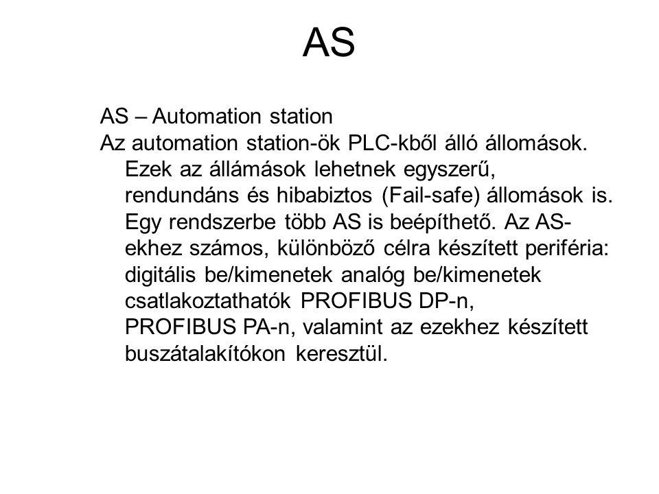 AS AS – Automation station Az automation station-ök PLC-kből álló állomások. Ezek az állámások lehetnek egyszerű, rendundáns és hibabiztos (Fail-safe)