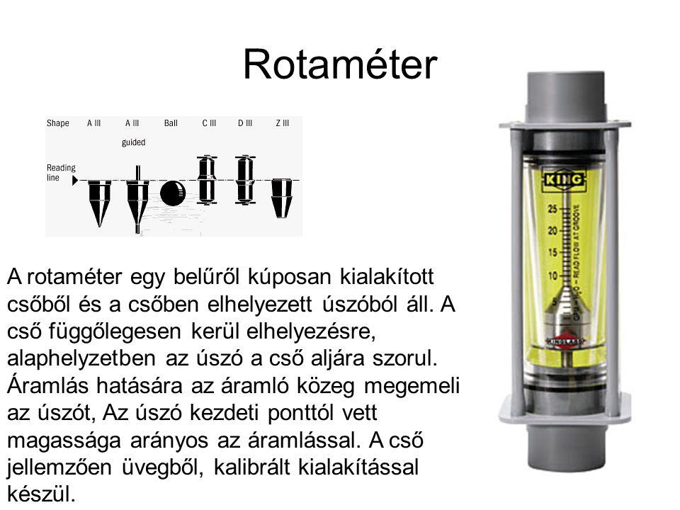Rotaméter A rotaméter egy belűről kúposan kialakított csőből és a csőben elhelyezett úszóból áll. A cső függőlegesen kerül elhelyezésre, alaphelyzetbe