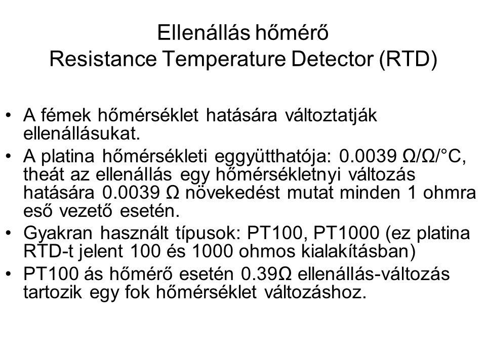 Ellenállás hőmérő Resistance Temperature Detector (RTD) A fémek hőmérséklet hatására változtatják ellenállásukat. A platina hőmérsékleti eggyütthatója