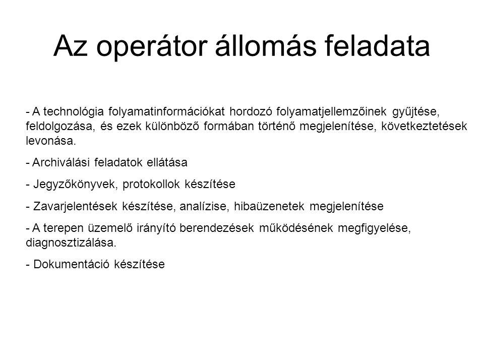 Az operátor állomás feladata - A technológia folyamatinformációkat hordozó folyamatjellemzőinek gyűjtése, feldolgozása, és ezek különböző formában tör
