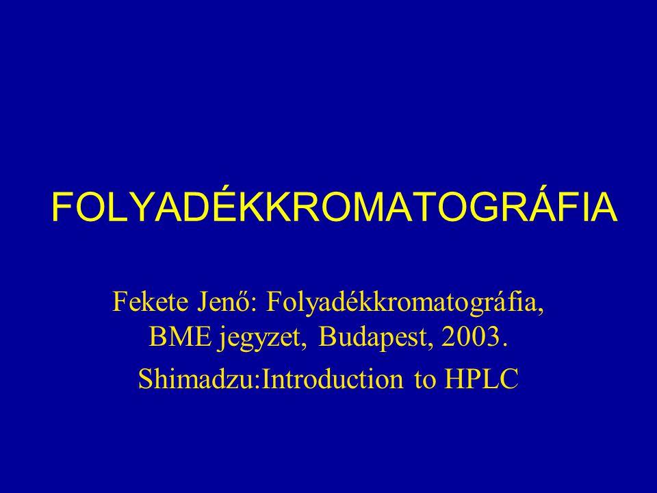 FOLYADÉKKROMATOGRÁFIA Fekete Jenő: Folyadékkromatográfia, BME jegyzet, Budapest, 2003. Shimadzu:Introduction to HPLC