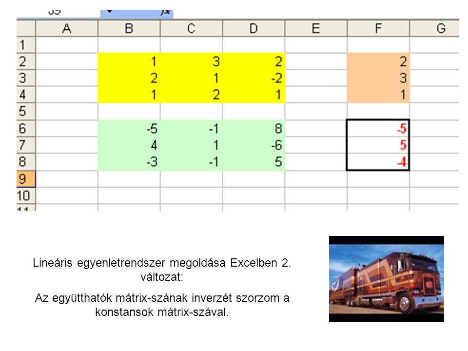 Lineáris egyenletrendszer megoldása Excelben 2. változat: Az együtthatók mátrix-szának inverzét szorzom a konstansok mátrix-szával.