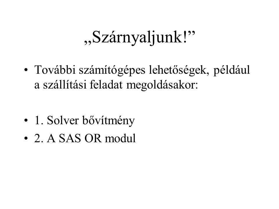 """""""Szárnyaljunk!"""" További számítógépes lehetőségek, például a szállítási feladat megoldásakor: 1. Solver bővítmény 2. A SAS OR modul"""