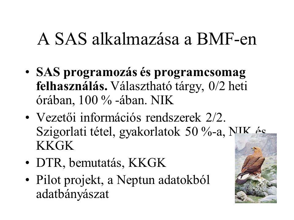 A SAS alkalmazása a BMF-en SAS programozás és programcsomag felhasználás. Választható tárgy, 0/2 heti órában, 100 % -ában. NIK Vezetői információs ren