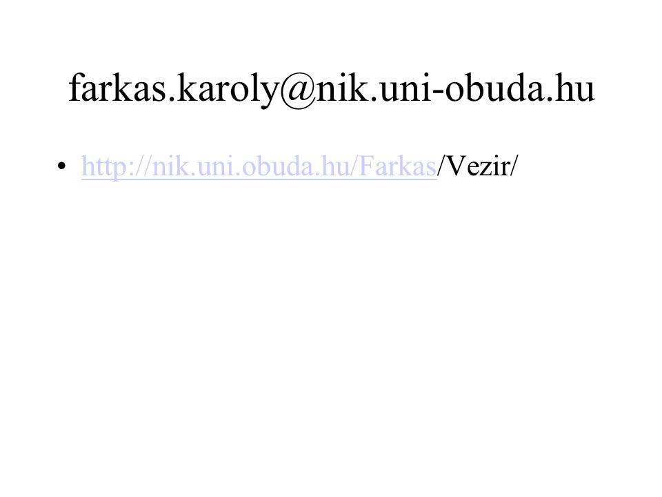 farkas.karoly@nik.uni-obuda.hu http://nik.uni.obuda.hu/Farkas/Vezir/http://nik.uni.obuda.hu/Farkas
