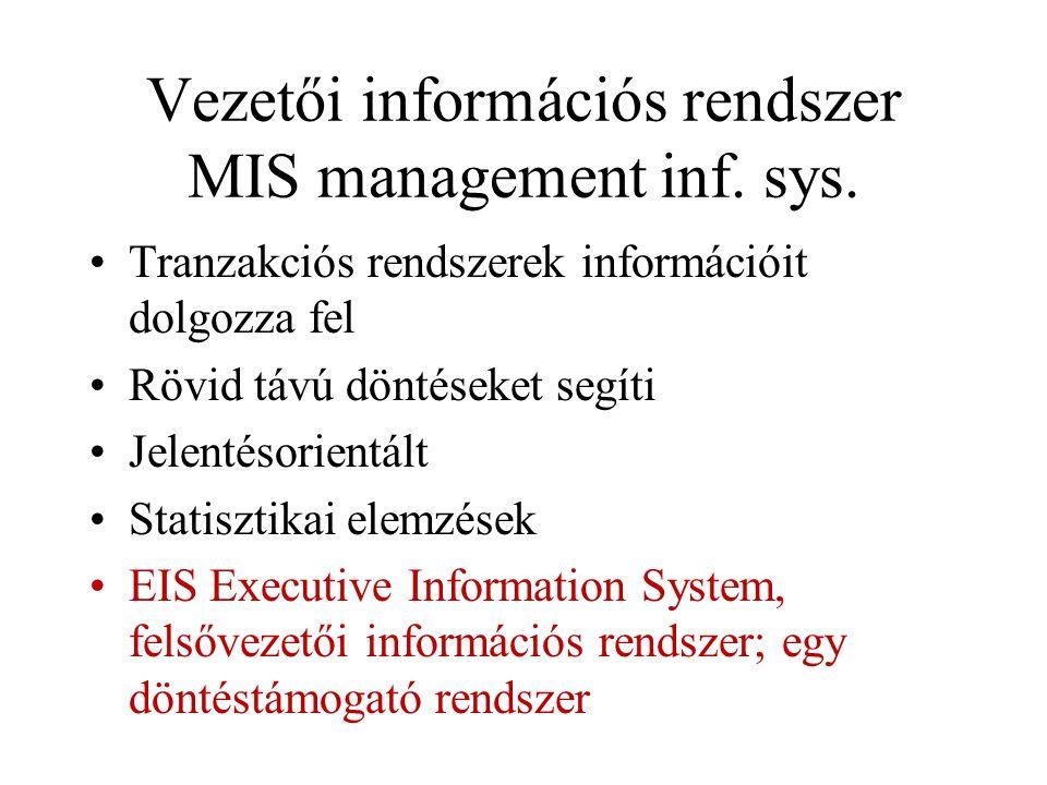 Vezetői információs rendszer MIS management inf. sys. Tranzakciós rendszerek információit dolgozza fel Rövid távú döntéseket segíti Jelentésorientált