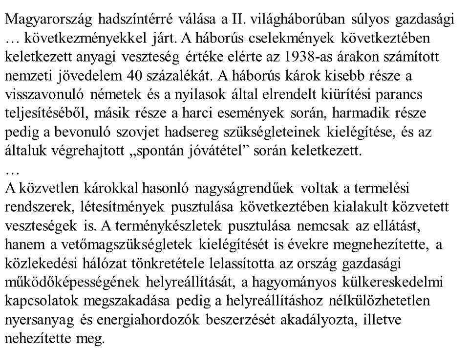 Magyarország hadszíntérré válása a II. világháborúban súlyos gazdasági … következményekkel járt. A háborús cselekmények következtében keletkezett anya