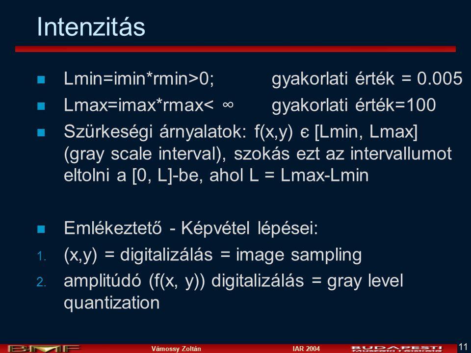 Vámossy Zoltán IAR 2004 11 Intenzitás n Lmin=imin*rmin>0; gyakorlati érték = 0.005 n Lmax=imax*rmax< ∞ gyakorlati érték=100 n Szürkeségi árnyalatok: f