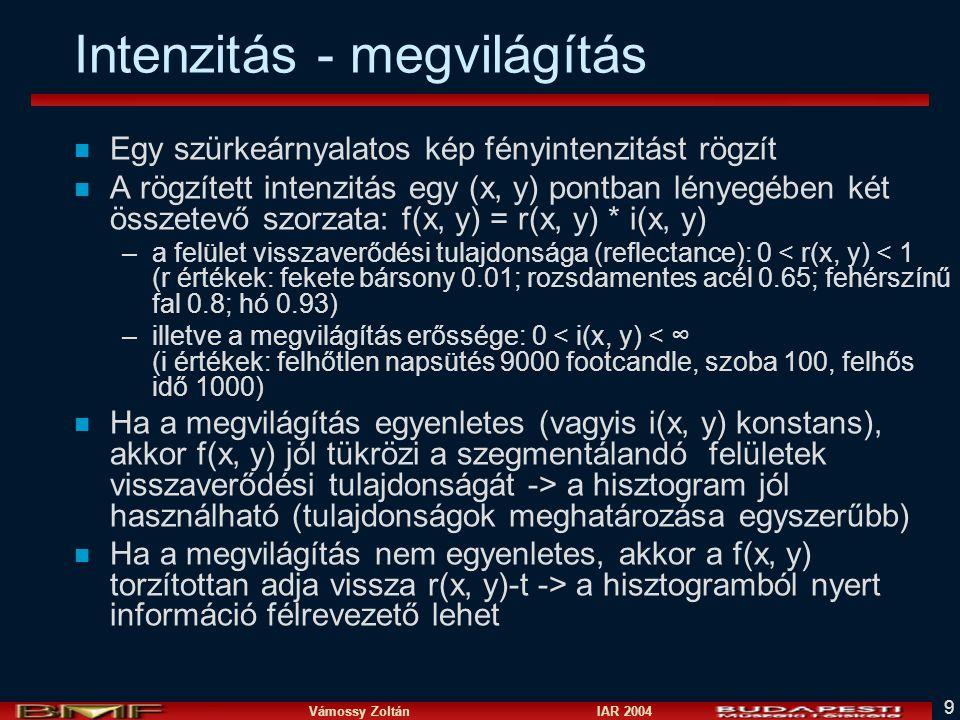 Vámossy Zoltán IAR 2004 9 Intenzitás - megvilágítás n Egy szürkeárnyalatos kép fényintenzitást rögzít n A rögzített intenzitás egy (x, y) pontban lény