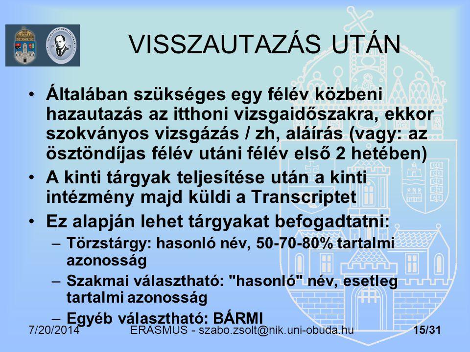 7/20/2014 ERASMUS - szabo.zsolt@nik.uni-obuda.hu 15/31 VISSZAUTAZÁS UTÁN Általában szükséges egy félév közbeni hazautazás az itthoni vizsgaidőszakra,