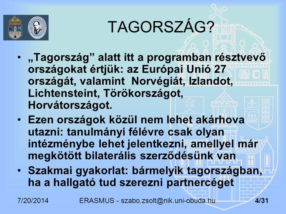 """7/20/2014 ERASMUS - szabo.zsolt@nik.uni-obuda.hu 4/31 TAGORSZÁG? """"Tagország"""" alatt itt a programban résztvevő országokat értjük: az Európai Unió 27 or"""