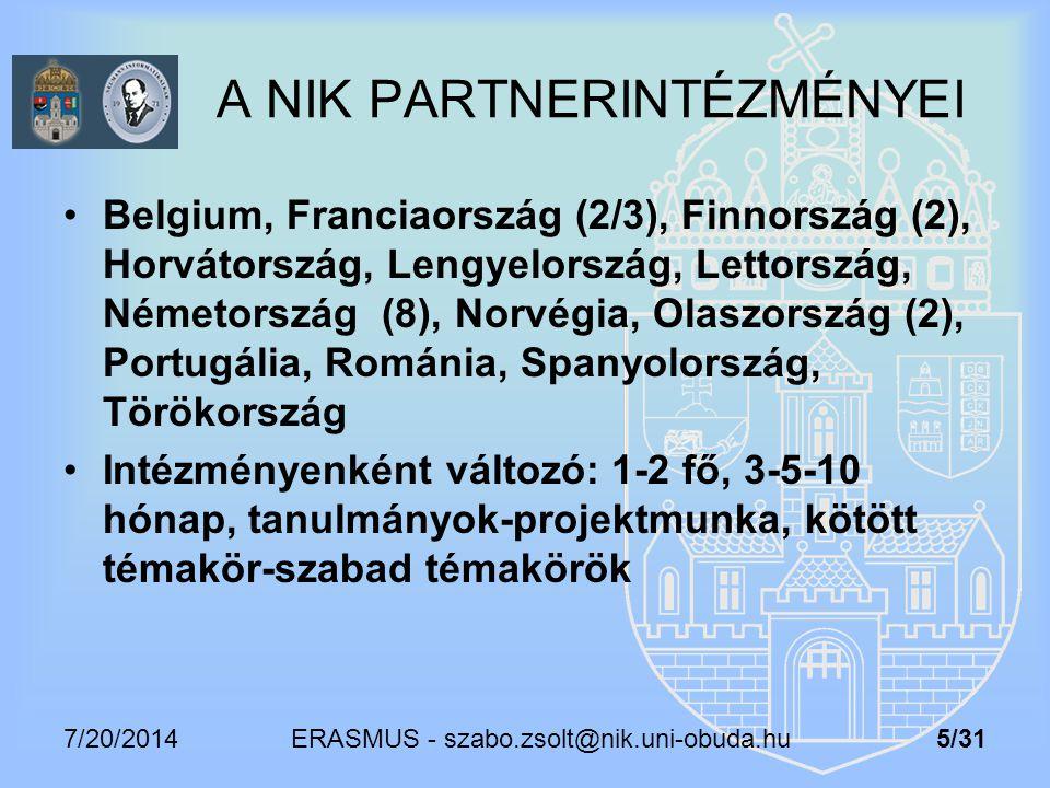 7/20/2014 ERASMUS - szabo.zsolt@nik.uni-obuda.hu 5/31 A NIK PARTNERINTÉZMÉNYEI Belgium, Franciaország (2/3), Finnország (2), Horvátország, Lengyelorsz