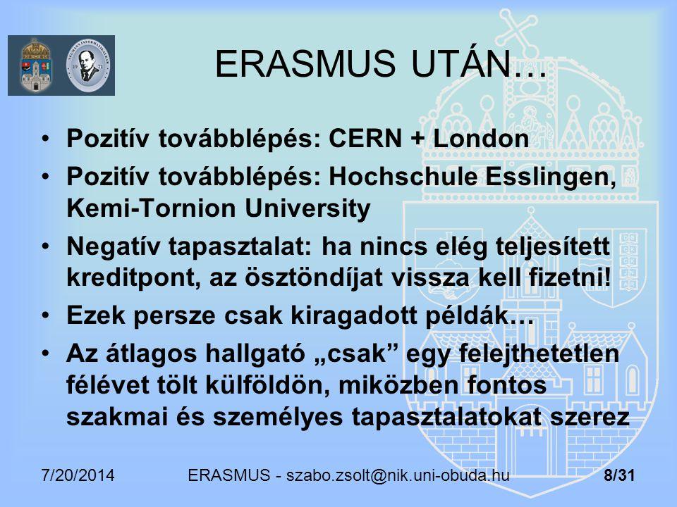 7/20/2014 ERASMUS - szabo.zsolt@nik.uni-obuda.hu 8/31 ERASMUS UTÁN… Pozitív továbblépés: CERN + London Pozitív továbblépés: Hochschule Esslingen, Kemi