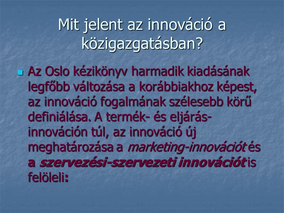 Mit jelent az innováció a közigazgatásban? Az Oslo kézikönyv harmadik kiadásának legfőbb változása a korábbiakhoz képest, az innováció fogalmának szél