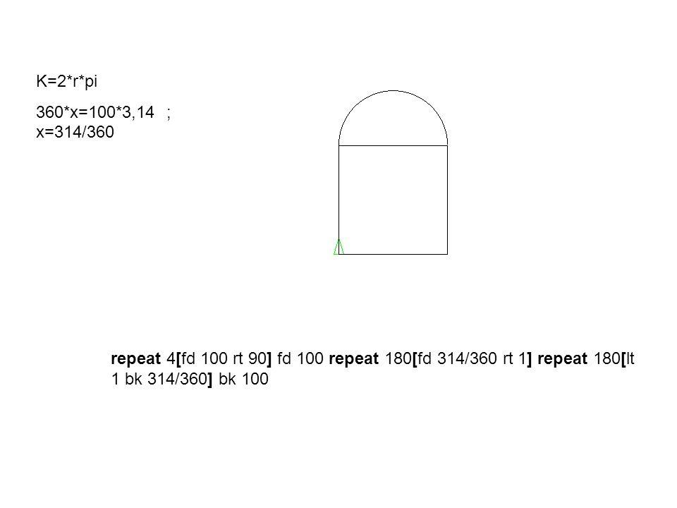repeat 4[fd 100 rt 90] fd 100 repeat 180[fd 314/360 rt 1] repeat 180[lt 1 bk 314/360] bk 100 K=2*r*pi 360*x=100*3,14 ; x=314/360