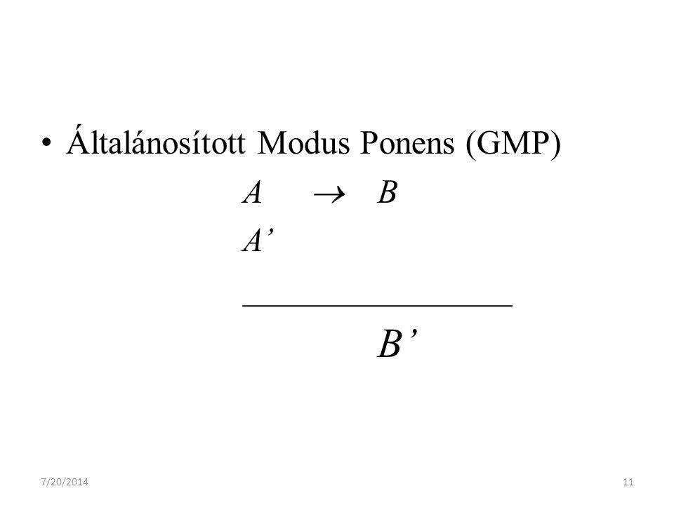 7/20/201411 Általánosított Modus Ponens (GMP) ABAB A' ________________ B'