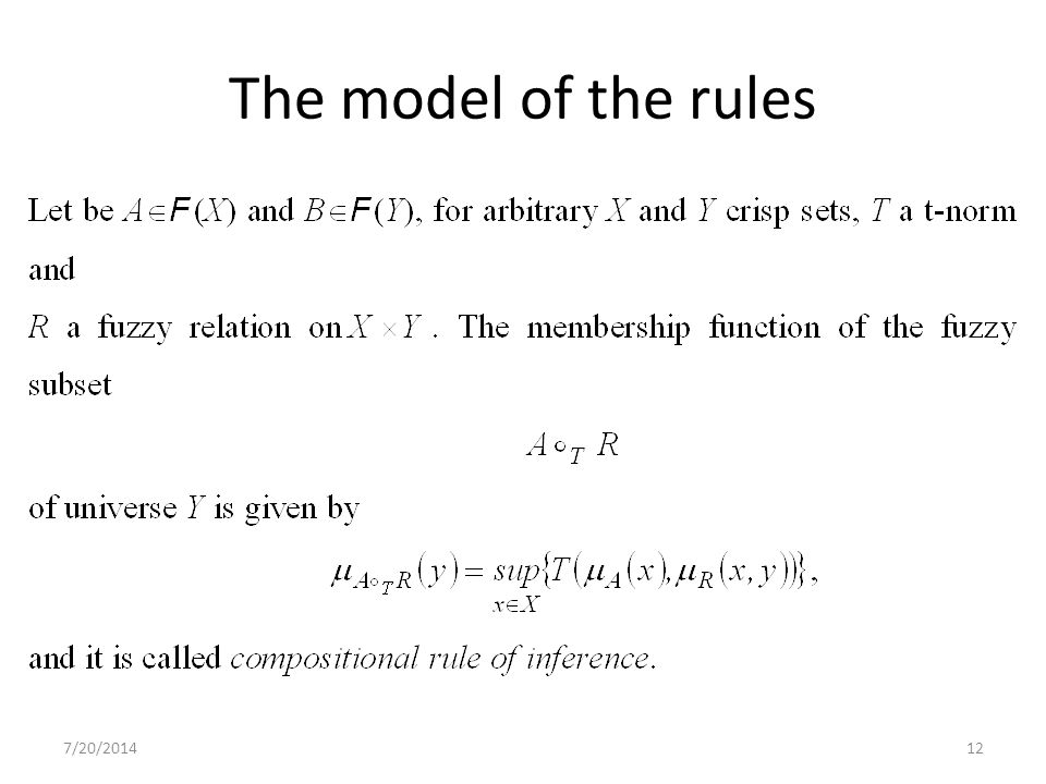 7/20/201412 The model of the rules