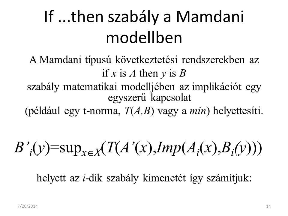 7/20/201414 If...then szabály a Mamdani modellben A Mamdani típusú következtetési rendszerekben az if x is A then y is B szabály matematikai modelljében az implikációt egy egyszerű kapcsolat (például egy t-norma, T(A,B) vagy a min) helyettesíti.