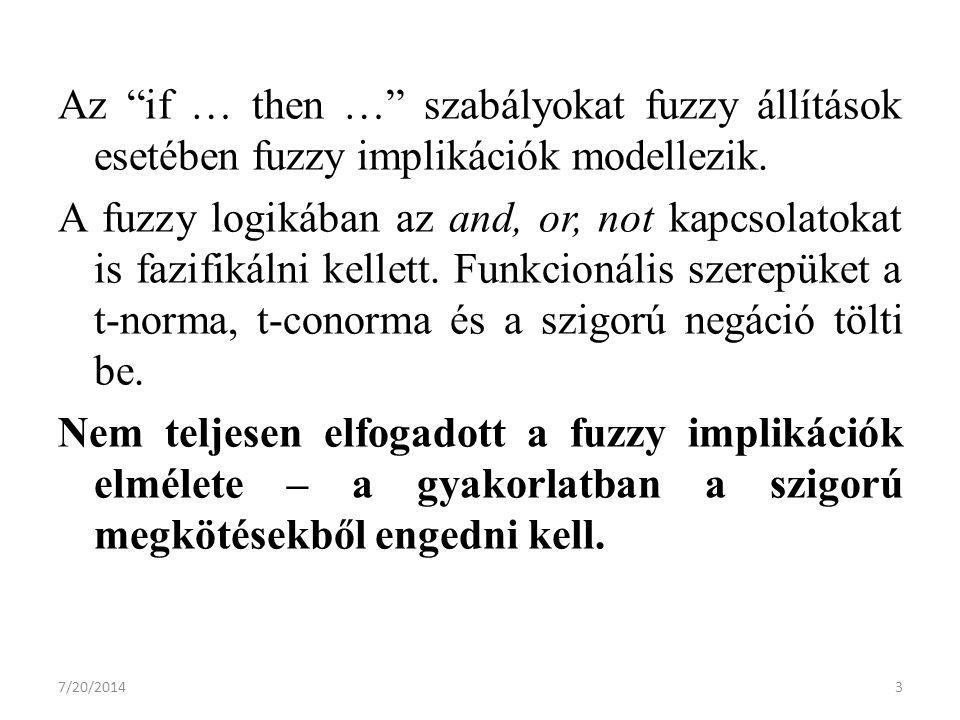7/20/20143 Az if … then … szabályokat fuzzy állítások esetében fuzzy implikációk modellezik.