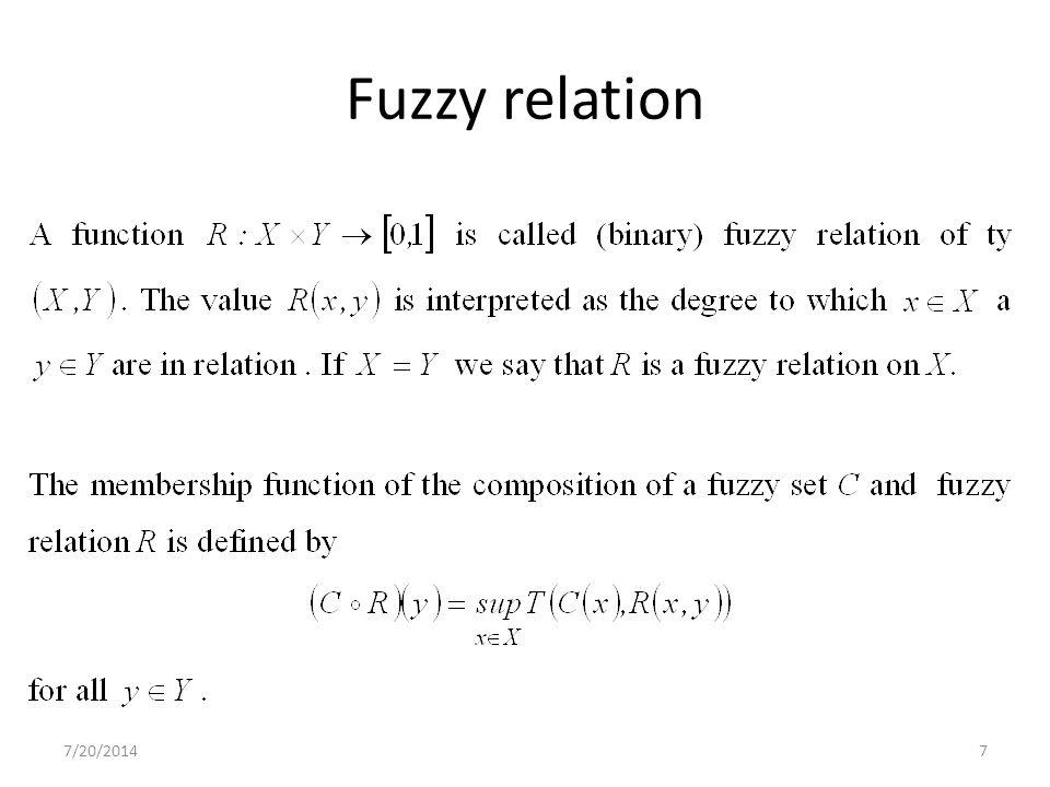 7/20/20147 Fuzzy relation