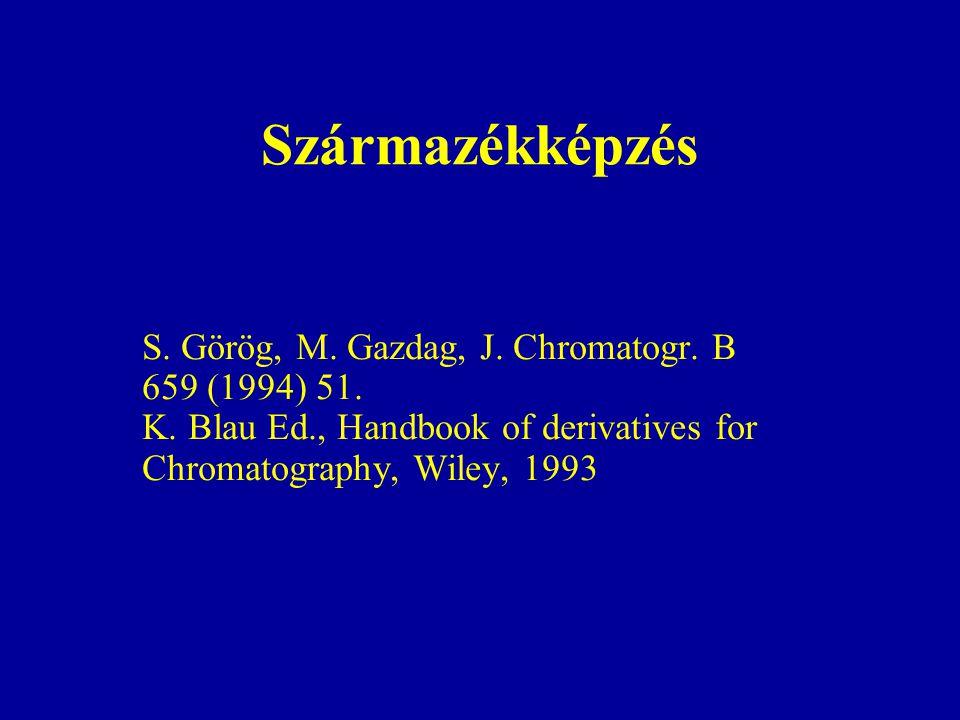 Származékképzés S. Görög, M. Gazdag, J. Chromatogr. B 659 (1994) 51. K. Blau Ed., Handbook of derivatives for Chromatography, Wiley, 1993
