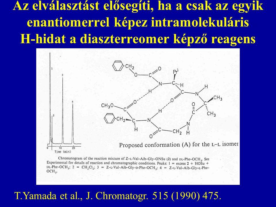 Az elválasztást elősegíti, ha a csak az egyik enantiomerrel képez intramolekuláris H-hidat a diaszterreomer képző reagens T.Yamada et al., J. Chromato