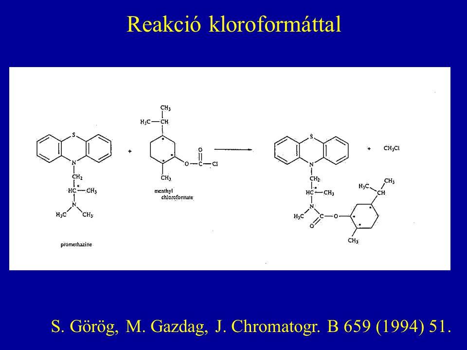 Reakció kloroformáttal S. Görög, M. Gazdag, J. Chromatogr. B 659 (1994) 51.